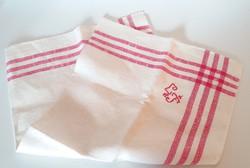 Régi konyhai textil vintage törölköző lenvászon csíkos monogramos konyharuha