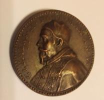 """19. századi bronz érem  """"X. Kelemen pápa"""""""