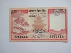 Unc 5 Rúpia 2008 Nepál  !!