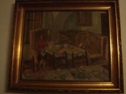 Bhöm Lipót:Hölgy enteriőrben.Eredeti,festménye.