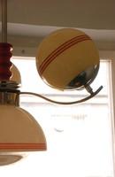 Art deco - Streamline - Bauhaus 3 karos, 4 égős nikkelezett csillár felújítva - vajszínű búrák