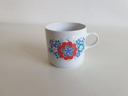 Retro Alföldi porcelán virágos bögre régi teás csésze
