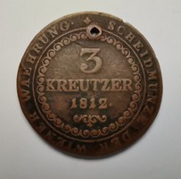 Ausztria 3 kreutzer 1812 B. Átütött!!