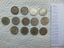 Svájc ezüst 1/2 frank 13 darab LOT !