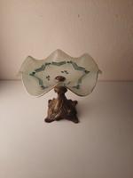 Szecessziós bronz talpas gyümölcstál, asztalközép, kínáló