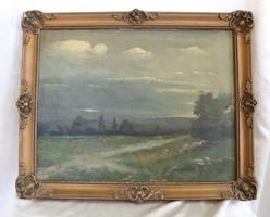 Antik nagyon régi festmény 40x 32 cm ismeretlen jelzett festőtől
