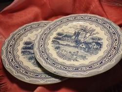 Antik angol jelenetes porcelán nagy kerek kínáló tál