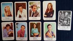 1973-1974-ből való kártyanaptárak; színésznők, színészek.