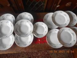 Zsolnay kék barackvirág mintás tányér készlet