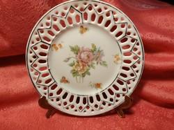 Antik porcelán dísz tányér, gyűrűs tányér