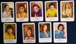 1975-1976-1977-ből való kártyanaptárak; színésznők, színészek; 9db