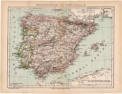 Spanyolország és Portugália térkép 1892, eredeti, régi, Athenaeum, Brockhaus, magyar, 24 x 31 cm
