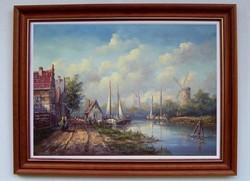 Fehérvári Zoltán 50x70cm + keret Flamand város a folyóparton