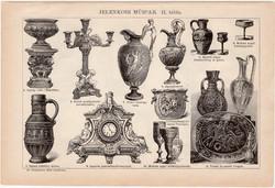 Jelenkori műipar I. és II., egyszínű nyomat 1892, magyar, Athenaeum, váza, pohár, üveg, ezüst, réz