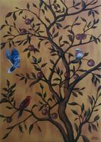 Keleti stílusú dekorációs festmény,Molnár Gabriella,100x70 cm