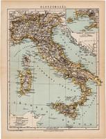 Olaszország térkép 1892, eredeti, antik, régi, Athenaeum, Brockhaus, magyar, Itália, 24 x 31 cm