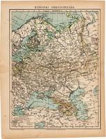 Európai Oroszország térkép 1892, eredeti, régi, Athenaeum, Brockhaus, magyar nyelvű, 24 x 31 cm