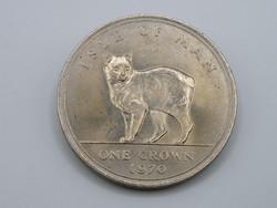 KK1210 1970 MAN sziget  1 korona érme Isle of Man One crown macska
