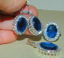 London Kék Kristály Csepp köves Fülbevaló és Medál + Gyűrű Ékszer Szett 9-es
