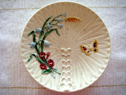 Régi Schütz Cilli tányér lepkés mezeivirágos majolika fali dísz 20 cm