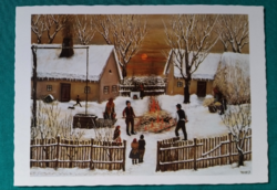 Török János :Disznópörzsölés,postatiszta képeslap, 1986