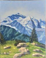 Antyipina Galina: A hegyekben, olajfestmény, vászon, 40x50cm