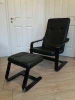 Fekete bőr relax fotel lábtartóval