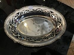 Ezüst áttört kenyérkosár címer díszítéssel