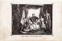 Béla választ a kard és korona között, metszet 1860, eredeti, fametszet, történelem, Geiger-féle kép