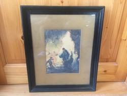 Jézus Krisztus akvarell ismeretlen szignózott festmény kép