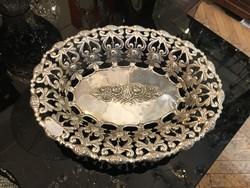 Ezüst rózsamintás asztalközép / kínáló