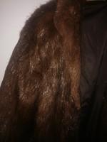 Női hosszú sötétbarna bunda