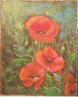 Antyipina Galina: Csendélet mákkal, olajfestmény, vászon, 50x40cm