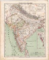 India térkép 1857, eredeti, Berghaus, német nyelvű, atlasz, Ázsia, Ceylon, Mangalore, Indiai - óceán