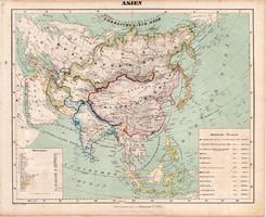 Ázsia térkép 1857, eredeti, Berghaus, német nyelvű, atlasz, Ázsia, Himalája, Kína, India, Japán