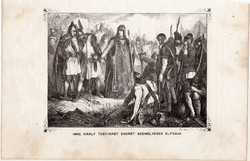 Imre király testvérét Endrét személyesen elfogja, metszet 1860, eredeti, fametszet, történelem, 1203