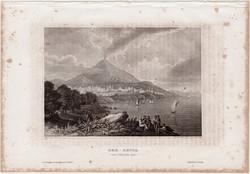 Etna, acélmetszet 1861, Meyers Universum, eredeti, 10 x 14 cm, metszet, Olaszország, Aetna, vulkán