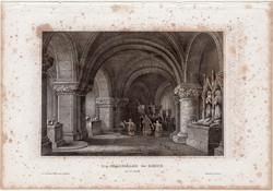 St. Denis, acélmetszet 1861, Meyers Universum, eredeti, 10 x 15 cm, metszet, Franciaország, király