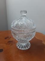 Csiszolt ólomkristály fedeles kerek cukortartó bonbonier