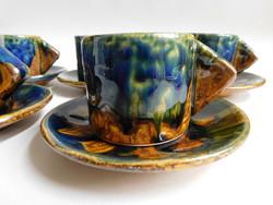 Retro kerámia iparművész kávéskészlet - mokkás -  (mid century)