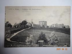 Régi, antik képeslap, LINZ a. Donau - Freinberg a Jezsuita kolostorral (1918)