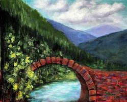 Vörös kőhíd - akrilfestmény