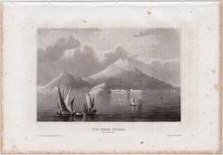 Ischia, acélmetszet 1861, Meyers Universum, eredeti, 9 x 15 cm, metszet, Olaszország, sziget
