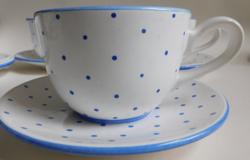 Gmundeni (Gmundner Keramik) kék pöttyös teás szett