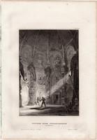 Benares, acélmetszet 1861, Meyers Universum, eredeti, 10 x 14 cm, metszet, India, Váránaszi, templom