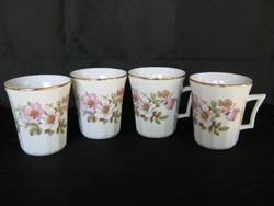4 db rózsás porcelán bögre