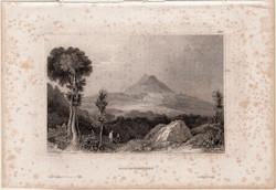 Hohenstaufen, acélmetszet 1861, Meyers Universum, eredeti, 10 x 15 cm, metszet, Németország, hegy