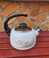 Virágos zománcos , fém teáskanna teafőző kanna  nosztalgia falusi paraszti  , dìsznek virágnak