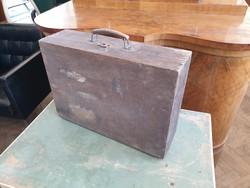 Régi vintage fa bőrönd táska koffer