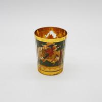 Zwischengoldglas, vadászmotivumos témájú üvegpohár- M429